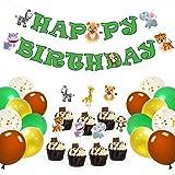 WERNNSAI Selva Safari Tema Fiesta Decoraciones Conjunto - 49 PCS Zoo Animales Suministros para la Fiesta para Niños Cumpleaños Happy Birthday Bandera Cupcake Toppers Palos, Confeti de Látex Globos