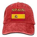 xinfub Gorra de béisbol Unisex Sombrero de Mezclilla teñido de Hilo España Bandera Ajustable Snapback Hunting Cap Net Red 6172