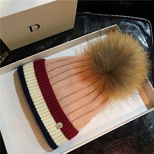 Gorro de Invierno para Mujer Knit Beanie Winter Pom Pom Hats-Pink-One Size