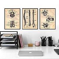 人間の背骨のビンテージポスターとプリント手技ガイド解剖学イラストアートキャンバス絵画医師のオフィスの装飾/ 50x70cmx3Pcs-フレームなし