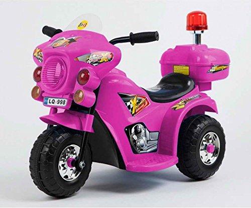 Toyas Kindermotorrad Elektromotorrad Kinderfahrzeug Dreirad Kinder Polizei Motorrad in Pink