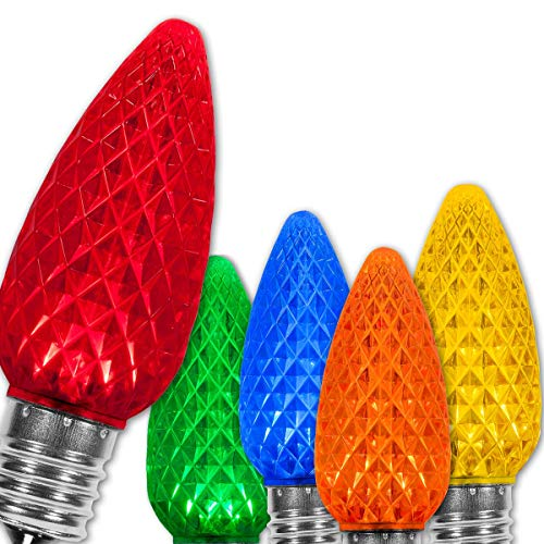 Wintergreen Lighting 25 Pack OptiCore Multicolor C9 LED Christmas Light Bulbs - 0.84W Replacement Christmas Light Bulbs, Heavy Duty Multicolor Lights, E17 Base (Multicolor Faceted)