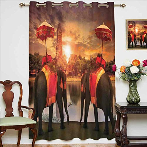 Asian Shading Curtains Animals Dressing Traditional Costumes Standing in front of Pagoda Patience Symbol Print Decorative Thermal Backing Sliding Glass Door Drape ,Single Panel 52x63 inch,for Bedroom