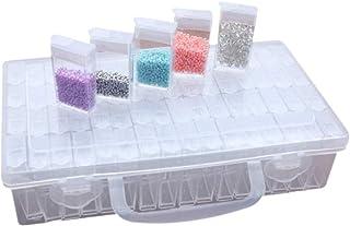 Voarge Diamentowe pudełko do sortowania, 64 przegródki, pudełko do przechowywania, organizer do biżuterii, rękodzieła, gwo...