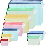 Mesh Zipper Pouch, 27 Pack Clear A3 A4 A5 A6 Sizes Plastic Zipper File Bags Mesh Zipper Pouch Document Bag for Office Supplies Cosmetics Travel Accessories