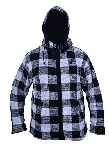 Ezhippie Mens- Chaqueta Lumberjack  a cuadros negro/blanco