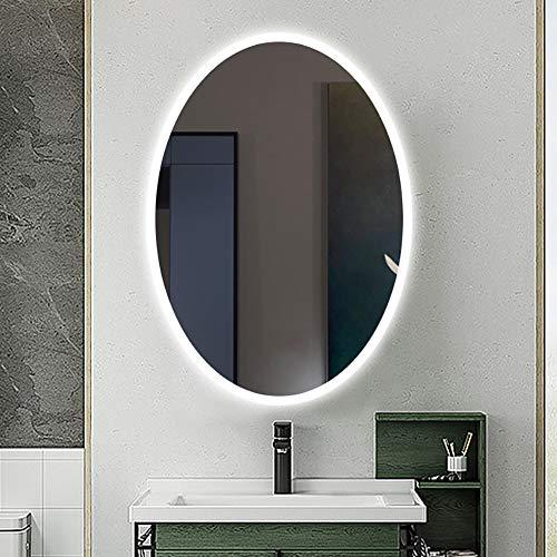 LED Badezimmerspiegel/Beleuchtet Badspiegel Mit Licht/Intelligenter Runder Spiegel/Dreifarbig Einstellbar, Warm/Weiß/Farbverlauf, Antibeschlag + IP44 Wasserdicht