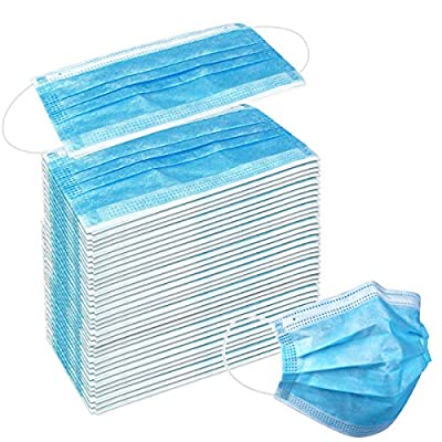 50 Pack Disposable Face Masks with Elastic Ear Loop, 3 Ply Breathable and Comfortable for Blocking Dust Air Pollution Dust Protection (Blue)