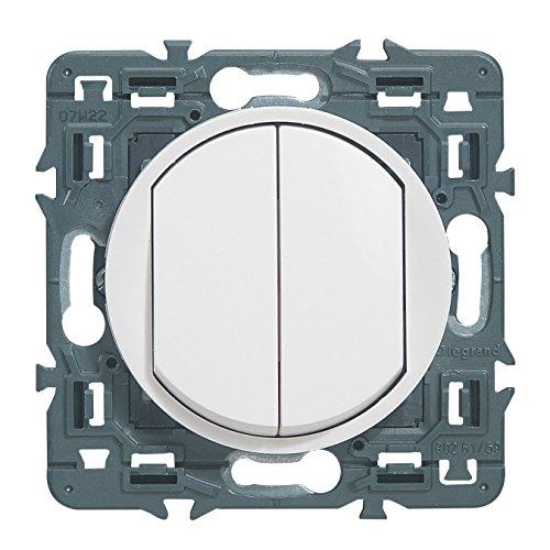 Legrand 099721 Céliane Soft – Double interrupteur ou va et vient – 10 AX, 250 V – Blanc – 099721