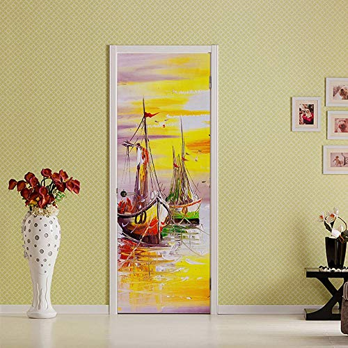 Wnyun Art Deur Stickers DIY Decoratie Mural Waterdichte Beeld Abstract Zonsondergang Zee Boot Landschap Behang Zelfklevende Home Decoratie 77x200cm