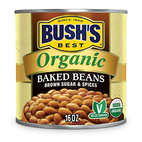 BUSH'S BEST Canned Organic Baked Beans, Source of Plant Based Protein and Fiber, Low Fat, Gluten Free, 16 oz