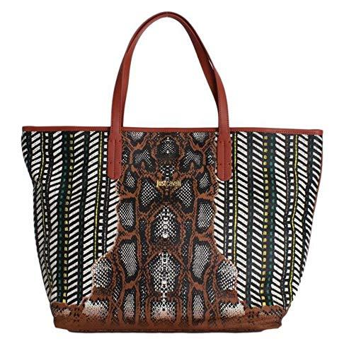 Roberto Cavalli Handtasche mit Schlangenmuster, Shopper, mehrfarbig, braun