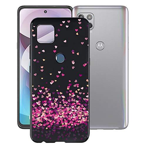 KJYF Funda para Motorola One 5G UW Ace (6.7'), Fundas Negro Premium Anti Deslizamiento Cover Caso Suave Silicona TPU Carcasa para Motorola One 5G UW Ace - Corazon Rojo