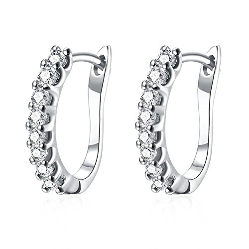 Buycitky 14k White Gold Plated Small Hoop Earrings for Women Huggie Earrings Piercings with Clear Cubic Zirconia, Best Ideas (White Gold-Plated)