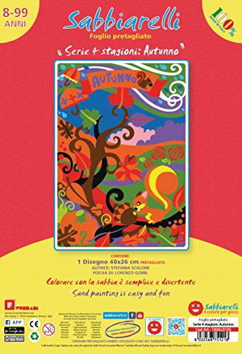 Sabbiarelli Sand-it for Fun - Poster Autunno: 1 Maxi Disegno Adesivo da Colorare con la Sabbia (Non Inclusa), Adatto per Adulti e Bambini, 26x40cm