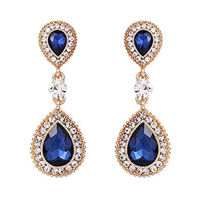 BriLove Wedding Bridal Dangle Earrings for Women Crystal Teardrop Infinity Figure 8 Earrings Navy Blue Sapphire Color Gold-Toned