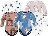 Sibinulo Jungen Mädchen Body Langarm 5er Pack Marineblau Bären Luftballons Sterne Igele Beige Bären 86(12-18 Monate)