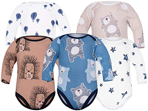Sibinulo Niño Niña Body Bebé Manga Larga Pack de 5 Koala Azul Oscuro Globos Estrellas Erizos...