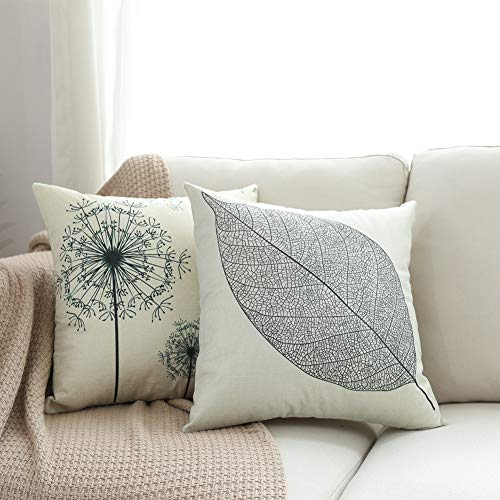 Great Features Of Pack 2, Linen Leaf Throw Pillow Covers Set Cushion Case for Sofa Bedroom Car,18x18...