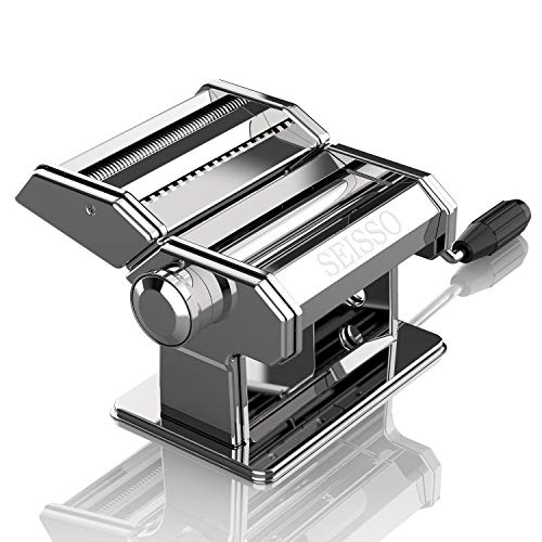 Pasta Machine Removable Dough Handmake Adjustable Pasta Thickness and Width Stainless Steel Roller Cutter Crank Machine for Homemade Pasta Noodles