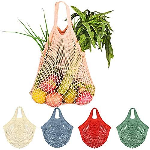 NIHE Bolsa De Compras De Algodón con Asa Larga, Adecuada para Compradores De Comestibles. Bolsa De Compras De Malla Reutilizable. Bolsas De Eco-Algodón En El Mercado (5 Colores)