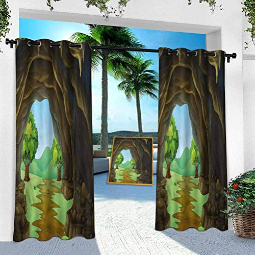 Aishare Store Outdoor Curtain for Patio Waterproof, Cave,Rock Shelter Countryside, 100' x 95' Room Darkening Thermal Insulated Vertical Drapes for Front Porch & Canvas(1 Panel)