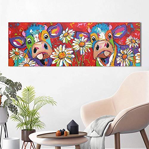 Vrolijk Schilderij Koe Canvas Schilderij Poster Muur Kunst, Dier Huis Decor Canvas Schilderij Schilderij Foto Prints 50x150cm geen Frame