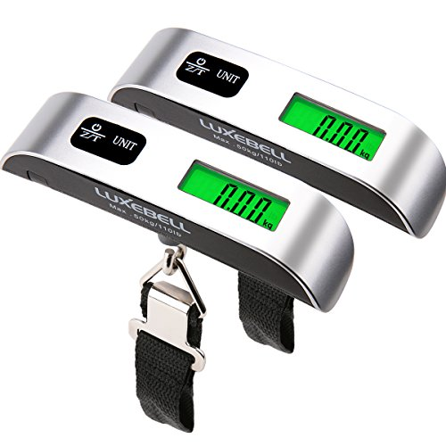 Luxebell Digital Travel Luggage Scale 110lbs with Temperature Sensor and Backlight LCD Display...