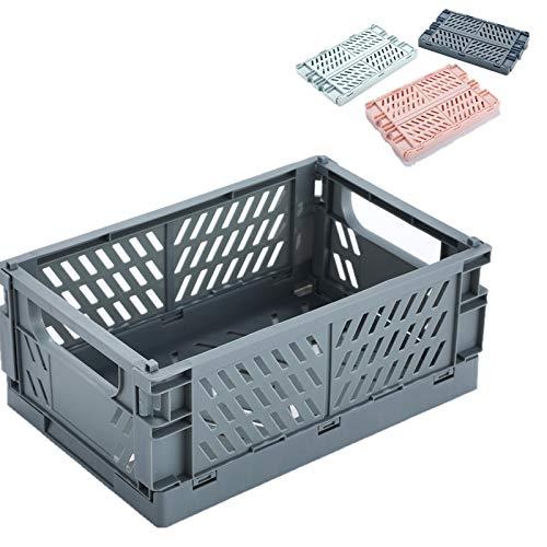 BAREGO Caja de Almacenamiento Plegable de plástico contenedor de Canasta/Canasta de Almacenamiento Plegable, Caja de Almacenamiento para Documentos, Ropa y comestibles(Gris Ahumado, M:25x16.5X10cm)
