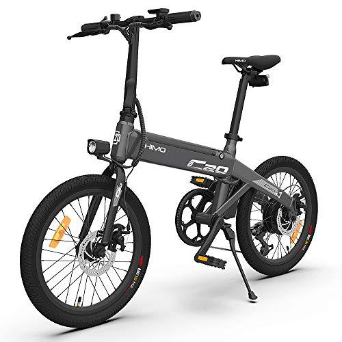 HIMO C20 Bicicleta Eléctrica para Fregona 20 Pulgadas 3 Modo de Conducción Conmutable 80 km Kilometraje del Ciclomotor Eléctrico Diseño Plegable Bicicleta Eléctrica Plegable 6 Engranajes Negro