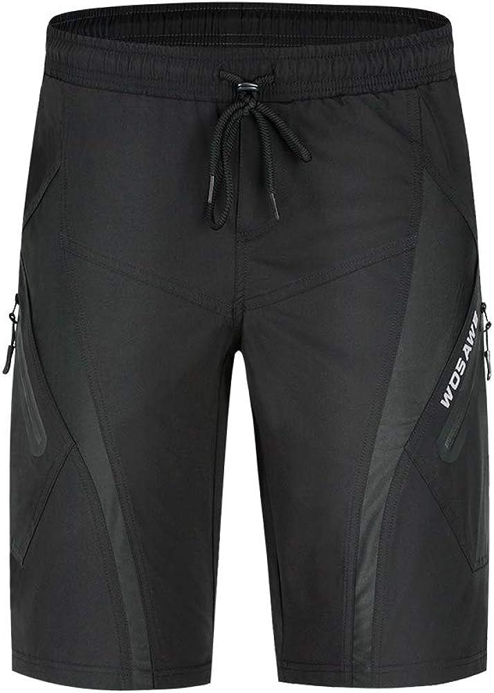 Loose-Fit Traspirante MTB Biciclette Shorts WOSAWE Pantaloncini da Ciclismo da Uomo Pantaloni 5D Imbottiti Bici
