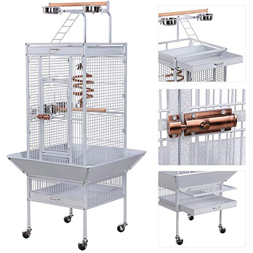 YAHEETECH 61-inch Wrought Iron Play Top Large Cockatiel Parrot Bird Cages Aviary with Stand for Cockatiels Sun Parakeet Conures Lovebird Budgie Finch African Grey White Bird Cage Birdcage
