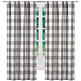 Elegant Linen Buffalo Plaid Gingham Check Farmhouse Curtains - Window Blackout Room Darkening Grommet Drapes for Bedroom & Living Room - Set of 2 Panels (Grey (Rod Pocket), 37x96)