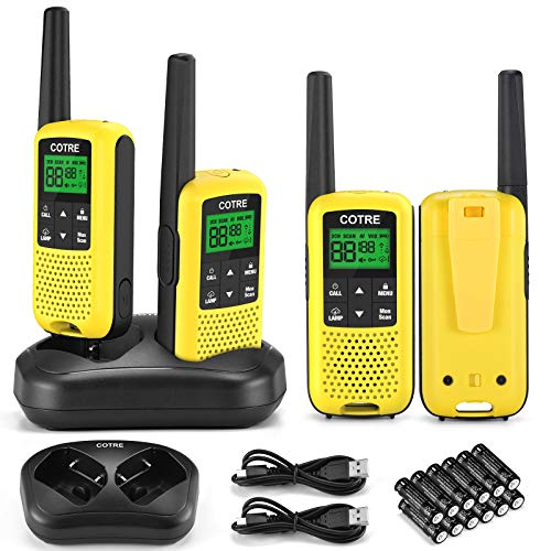 Walkie Talkies - COTRE Two Way Radios, Up to 32 Miles Long Range USB Rechargeable Walkie Talkies w/ 2662 Channels, NOAA & Weather Alerts, VOX Scan, LED Lamplight for Outdoor Activities, Yellow(4 Pack)