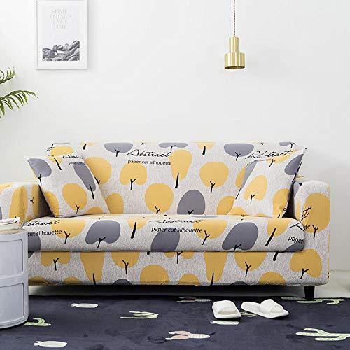 Funda de sofá de 1 Plazas Funda Elástica para Sofá Poliéster Suave Sofá Funda sofá Antideslizante Protector Cubierta de Muebles Elástica Árbol Gris Amarillo Funda de sofá