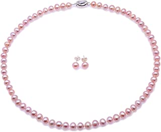 JYX Pearl Necklace Set AA+ 7-8mm Natural Lavender Freshwater Cultured Pearl Necklace Bracelet and Earrings Set for Women