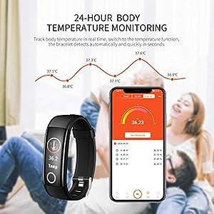 StillCool Reloj Inteligente Fitness, Pulsera Actividad Termómetro IP68 Impermeable con Podómetro, Pulsómetro, Monitor de Presión Arterial, Monitor de Sueño para Hombre Mujer Niños