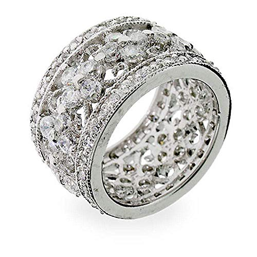 Hot Sale Elegant Vintage Style Flower CZ Sterling Silver Ring Size 8 (Sizes 5 6 7 8 9 Available)