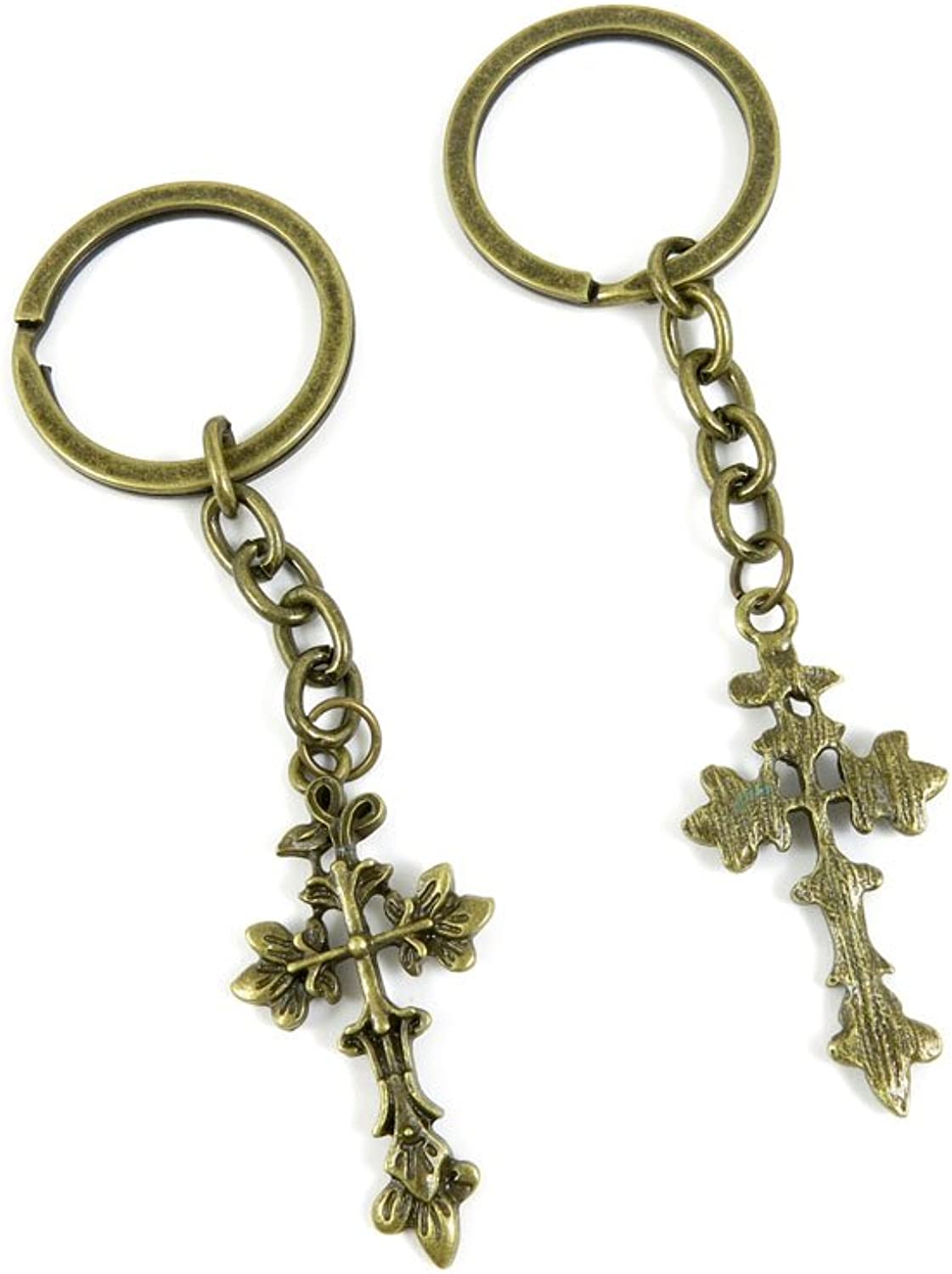 160 Pieces Fashion Jewelry Keyring Keychain Door Car Key Tag Ring Chain Supplier Supply Wholesale Bulk Lots A3OL6 Leaves Latin Cross