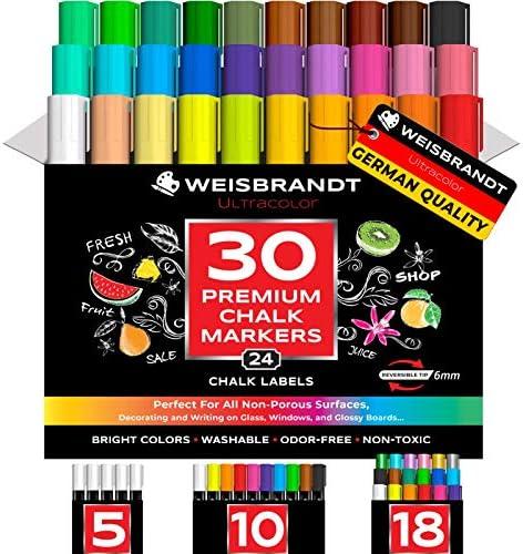 WEISBRANDT UltraColor Vibrant Liquid Chalk Markers Mega Pack of 30 Premium Dry Erase Marker product image