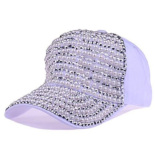 KDXBCAYKI Hombres y Mujeres Gorra de béisbol de Mezclilla con Remaches y Bordado de Perlas Calle Sombrero de Vaquero Hip-Hop Sombrero Hip Hop Sombrero para el Sol Deportes Cómodo Trans