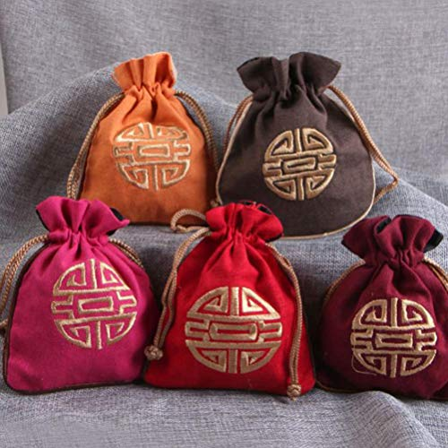 Cabilock 4pcs Cotton and Linen Drawstring Bags Pouches Jewelry Bag Candy Sachet Pouch Small Chinese Embroidered Pocket for Dice Necklaces Earrings Pouch Random Color