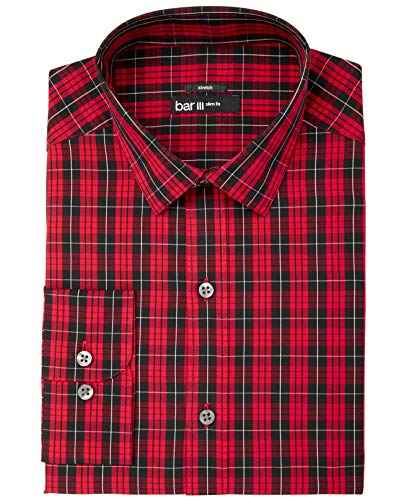 """Bar III Mens Stretch Easy Care Button Up Dress Shirt, Red, 15-15.5"""" Neck 32-33"""" Sleeve"""