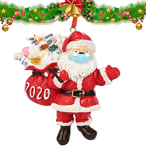 Gigilli Christmas Ornaments 2020, Santa Claus Wearing A Face Mask and Carrying a Gift Bag, Christmas Tree Decorations Hanging Pendant Decor Xmas Creative Gift (1)