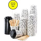 100 Vasos Desechables de Café Para Llevar - Vasos Carton 240 ml 8 Onzas con Tapas y Agitadores de Madera para Servir el Café, el Té, Bebidas...