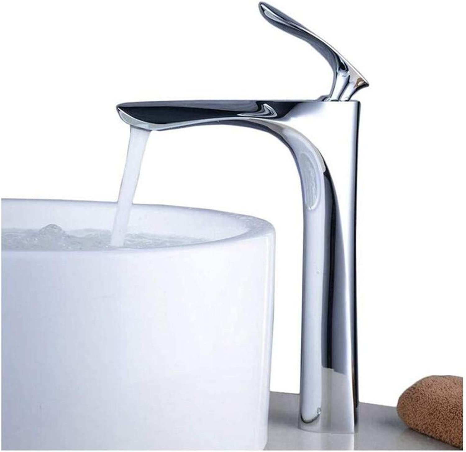 Faucetmodern Mixer Faucet Tall Counter Top Basin Mixer Tap Curved Bathroom Sink Tap