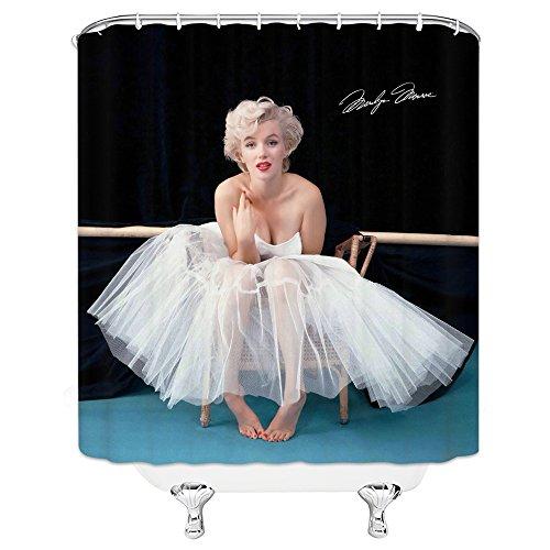 AMFD Sexy Marilyn Monroe Duschvorhang Exquisite Sexy weibliche Modell Badezimmer Decor 177,8 x 177,8 cm wasserdicht Schimmel Polyester Stoff inkl. Haken schwarz