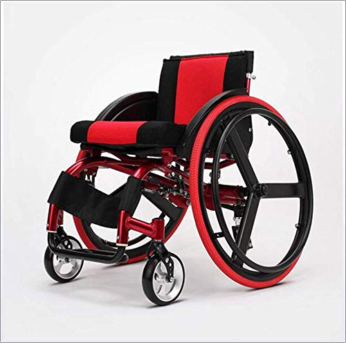 BBG Deportes y tiempo libre Silla plegable para silla de ruedas Portátil con aleación de aluminio ultraligera Liberación rápida Rueda trasera Amortiguador Trolley Discapacitados Ancianos Cond