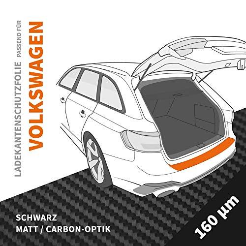 Ladekantenschutz Folie   Ladekantenschutzfolie › passgenau für: VW Golf Cabrio 6 1K BJ 2011-2016 ✓ Schwarz-Matt/Carbon-Optik ✓ Stärke 160 µm (0,16mm)