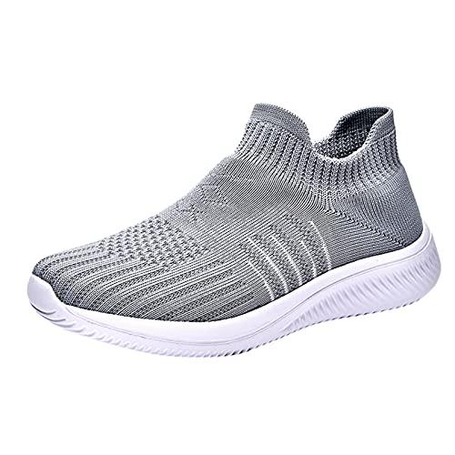 Zapatillas Deportivas para Mujer Transpirables Ligeras de Malla para Correr Caminar Trabajar(M19_Dark Gray,39)